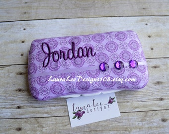Purple Medallions Travel Baby Wipe Case, Personalized Wipe Case, Diaper Wipes Case, Baby Shower Gift, Purple Wipe Case, Baby Wipe Clutch