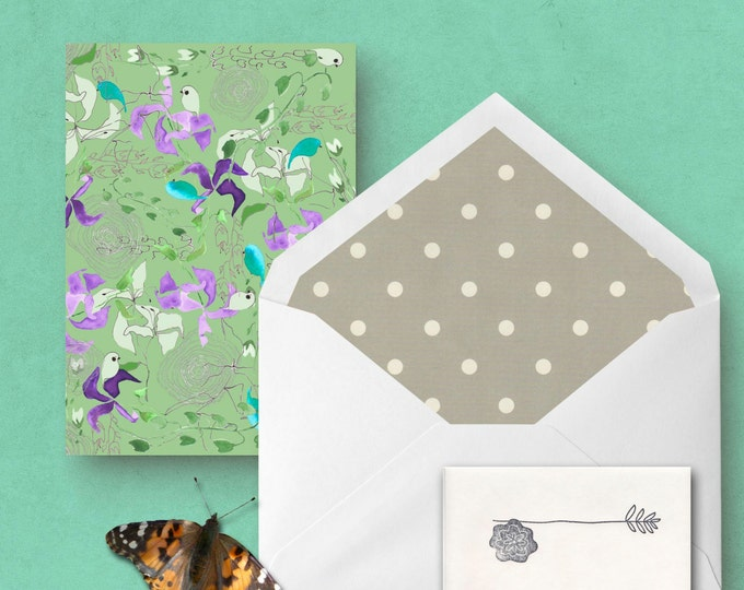 Woodland Iris and Birds Greeting Card