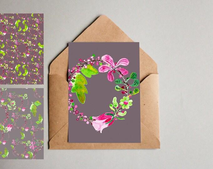 Notecard Rose Wreath 3 Pack