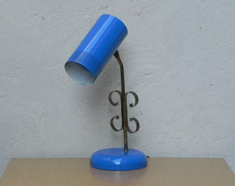 Blue Metal Mid Century Desk Lamp with Cylinder Shroud