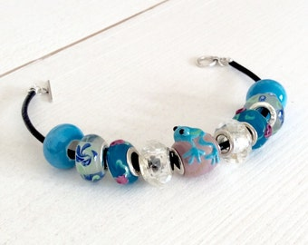 Blue glass & sterling silver european style bracelet - large hole beads with flowers and frog on leather thread