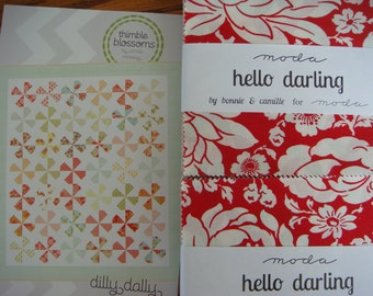 Dilly Dally Quilt Kit with Hello Darling Charm Squares from Moda, you choose the border fabric.