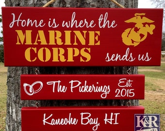 """Duty Station Sign ~ Home is where the Military sends us Army, Navy, Air Force, Marine Corps, Coast Guard Sends Us"""" painted Family Sign '1 Ba"""