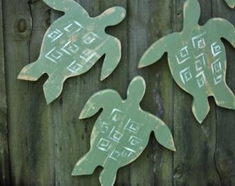 Set Of 5 Sea Turtles, Primitive Design, Wall Art, Coastal Living