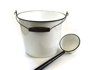 White Black Trim Enamelware Bucket Pail and Ladle - Kitchen and Industrial Bucket