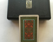 Vintage KEM Arabesque Pinochle Double Deck Plastic Playing Cards and Case Made in USA