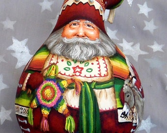 "Feliz Navidad, Mexico inspired Santa Claus, hand painted gourd, 9"" tall"