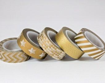 Washi Tape - Chevron, Stars, Triangles, Speckled, Striped Gold Metallic - Set of 5