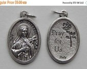 APPRECIATION SALE 5 Patron Saint Medal Findings - St. Therese, Die Cast Silverplate, Silver Color, Oxidized Metal, Made in Italy, Charm, Dro
