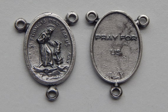 5 Rosary Center Piece Findings - 25mm Long, St. Francis, Pray, Silver Color Oxidized Metal, Rosary Center, Saint, Religious Beads, RC405