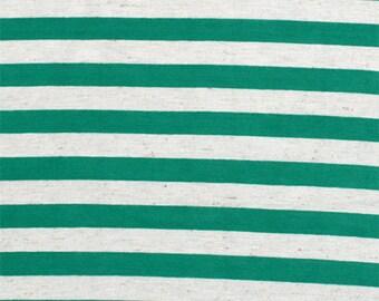 SALE!! Kelly Green Oatmeal Half Inch Stripe Cotton Jersey Blend Knit Fabric