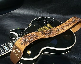 "Handmade leather guitar strap. ""Astro Circus""."