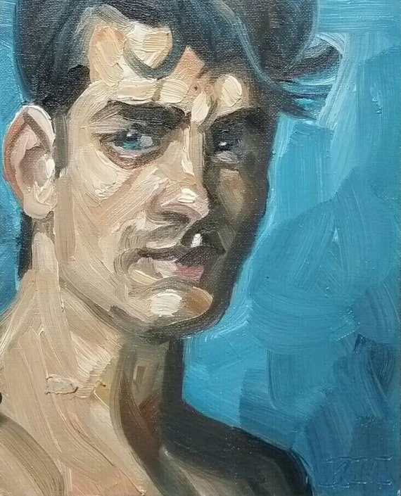 Intensely Baggable Boy with Thick Dark Hair, oil on canvas panel 8x10 inches Kenney Mencher