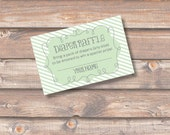 Green Stripes Diaper Raffle Cards Baby Boy Sage Green Baby Shower Light Green Boy Girl Twins Diaper Raffle Tickets - INSTANT DOWNLOAD