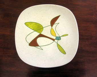 vintage Poppytrail plate free form hand painted mid century 10 1/4