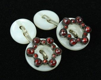 antique GARNET cufflinks on mother of pearl