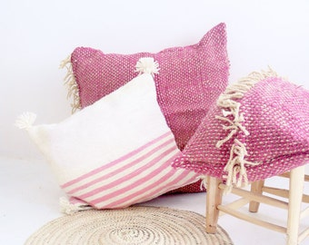 Moroccan POM POM pillow cover - wool natural undyed with Pink stripes