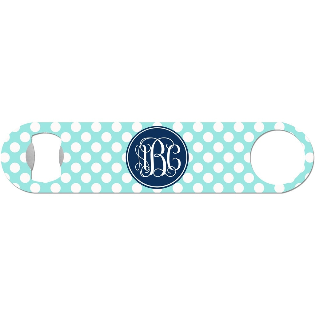 Custom Beer Bottle Opener Personalized Polka Dot Vine Fancy