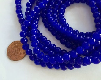 6mm Glass Beads in Opaque Sapphire Blue, Imitation Jade, 130 Beads, Round, Smooth, Shiny