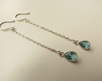 Blue CZ Tear Drop and Sterling Silver Earrings, Cubic Zirconium Earrings,Chain Earrings, Long Earrings, Drops