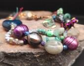 Oceanic ~ Rustic Pearl, Crystal Aura Quartz, Labradorite, Abalone Shell and Czech Glass Gemstone Bracelet with Copper Clasp Gemstone SALE