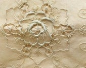 Antique Net Lace Pillow Cover Embroidered One of Two Vintage Ecru