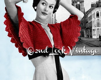 Vintage Crochet Pattern 1950s Cape Sleeve Bolero Shrug Digital Download PDF
