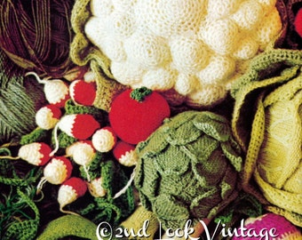 Vintage Crochet Knitting Pattern Vegetables Amigurumi 70s Digital Download PDF