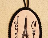 Joyeux Noel Eiffel Tower Ornament Door Hanger French Paris