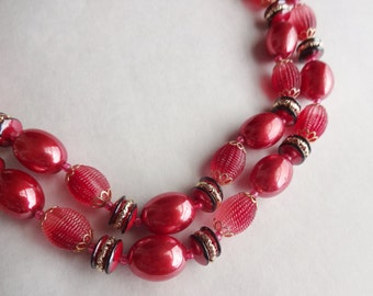 Candy Colored Red Bead Necklace