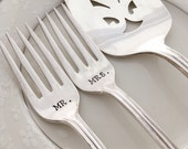"""Mr. & Mrs. forks and cake server, vintage wedding """"Lady Densmore"""", hand stamped"""
