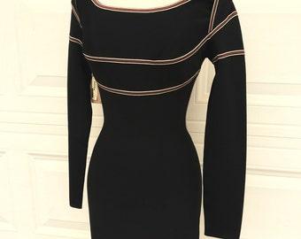 1980s 1990s designer Herve Leger made in France bodycon bandage dress NOS size S M