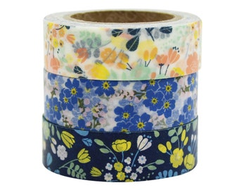 Floral Washi tape 3 set - wedding bouquet - value pack -DIY- packaging -scrapbooking- craft supplies-decorative tape-weddings- Love My Tapes