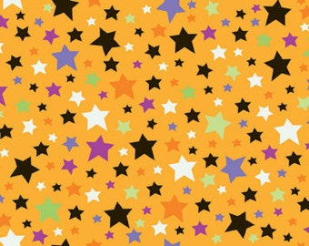 Trick or Treat Orange Stars by Doodlebug Designs, inc. for Riley Blake, 1/2 yard