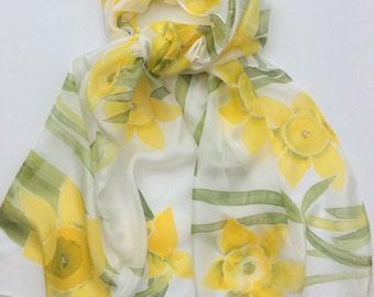 Daffodil Hand Painted Silk Scarf.  Yellow Daffodil silk scarf.