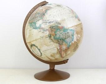 1980s Vintage Replogle 12Inch Globe with Metal Base ,Office Decor Globe,Wedding Decor Globe, Wedding Table Decor Item No 1585