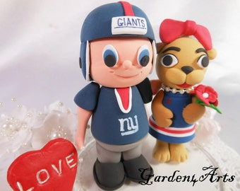 NEW--Custom wedding cake topper--Love MASCOT couple with circle clear base--NEW