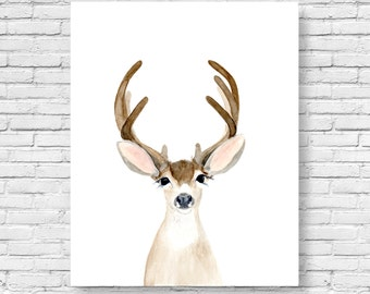 Deer Print, Deer Antler, Buck, Woodland Decor, Wall Art,Woodland nursery, Animal Print, Printable Art, Woodland animals, watercolor