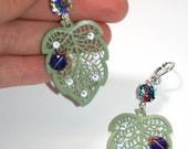 Vintage enamel leaf lady bug swarovski crystal iris glass silver earrings