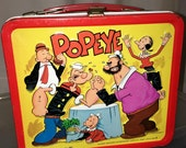 1980 King syndicate Popeye cartoon character Aladdin industries metal lunch box lunchbox