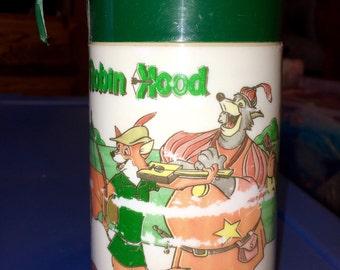 vintage Aladdin industries Walt Disney movie Robin Hood metal lunch box lunchbox THERMOS ONLY