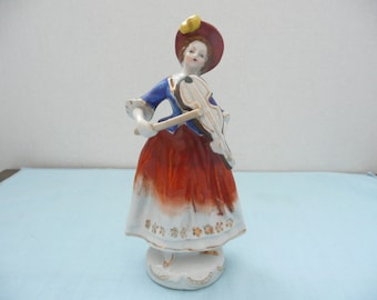 CLEARANCE - Hand Painted Porcelain Figurine of a Lady with a Violin, Made in Occupied Japan