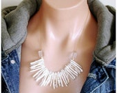 READY FOR SPRING Sale: Statement Necklace Ashira Delicate Biwa Freshwater Pearls Handcut Crystals18k Gold Filled Chain Perfect for a Gift