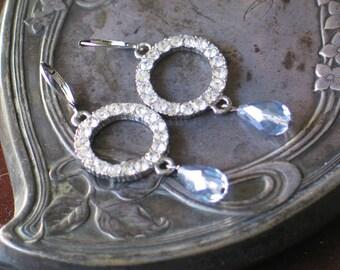 Sparkling Rhinestone Earrings / Georgian Jewelry / Wedding Jewelry / Glamour