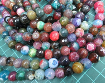 5 str (190pcs beads) -Colorful Mixed Colors Agate 10mm Round Beads faceted
