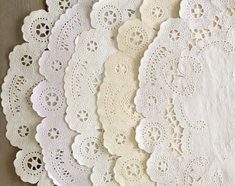 PACK [50] 12 INCH Shabby Rustic Hand Dyed Paper Doilies In Ivory and Tan Hues - Paper Placemats, Wedding Decor, Decorations, Party Decor