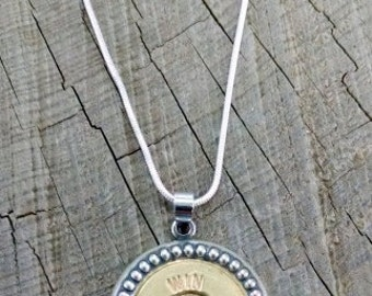 Bullet Necklace / 20 Gauge Silver Dotted Bullet Necklace WIN-20-BNB-SDN / Brass Necklace / Shotgun Necklace / Shotgun Shell Necklace