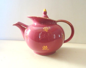 Vintage Hall China Tea Pot Tea Kettle Mauve and Gold made in USA
