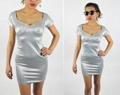 90's SILVER  Metallic Mini DRESS Bodycon. Sweetheart Neckline Low Back Stretchy. Party Club Dress