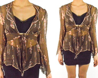 1970's FLORAL SHEER Cropped Blouse Long Flared Sleeves Boho Stevie Nicks Brown and Pink Plunging Neck